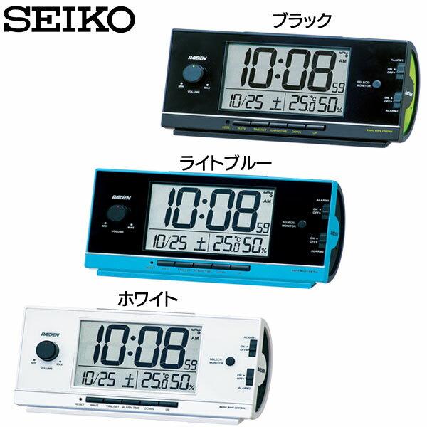 SEIKO〔セイコー〕電波目覚まし時計 NR534K・NR534L・NR534W ブラック・ライトブルー・ホワイト[ライデン 置き時計 置時計 アラーム 電波 電波時計 デジタル 目覚まし時計 新生活 スヌーズ 温度・湿度計測 卓上 セイコー 電波修正]【D】【HD】