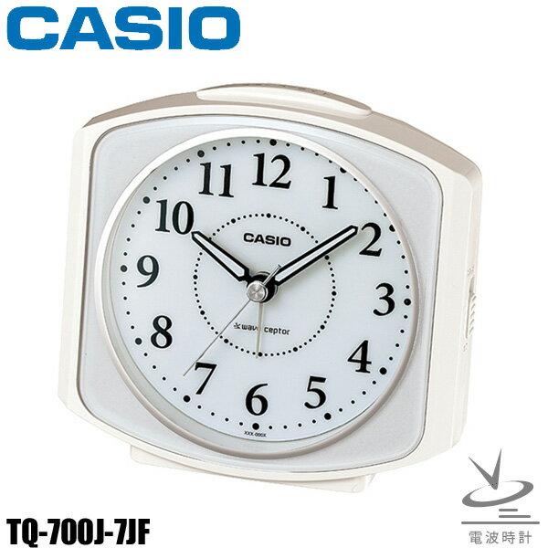 CASIO〔カシオ〕置き時計 TQ-700J-7JF送料無料 置時計 電波 電波時計 時計 とけい トケイ アナログ 目覚まし時計 新生活 スヌーズ機能 ライト付き【HD】【D】 [CAWT]
