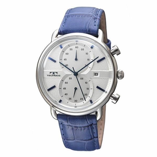 TECHNOS テクノス 腕時計 メンズ 男性用 T6397SN ブルー 5気圧防水 3針 クロノグラフ 革バンド 日付表示 クォーツ(快適家電デジタルライフ)