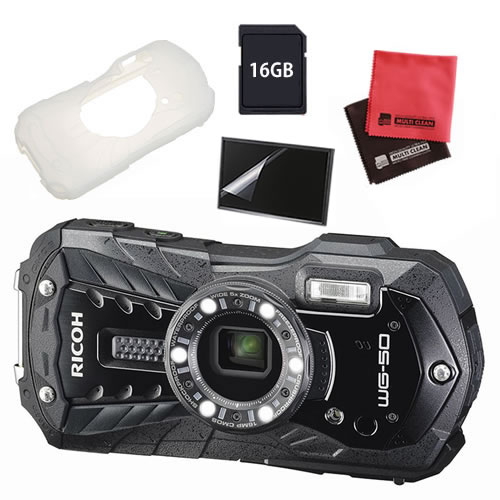 【ジャケット付5点セット】 リコー RICOH WG-50 ブラック 防水・防塵・耐衝撃・防寒 デジタルカメラ 【快適家電デジタルライフ】