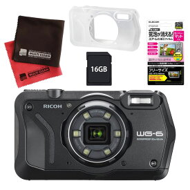 リコー (RICOH) 防水・防塵・耐衝撃・防寒 デジタルカメラ WG-6 ブラック (SDHCカード 16GB&液晶フィルム&ジャケットセット) 【防水カメラ】(快適家電デジタルライフ)