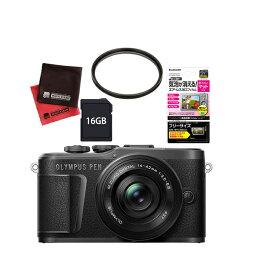 (レンズフィルター&SDカード16GBセット) オリンパス PEN E-PL10・14-42mm EZレンズキット ブラック(快適家電デジタルライフ)