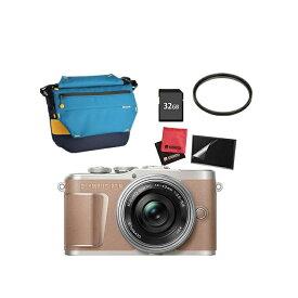 (カメラバッグ&SDカード32GBセット) オリンパス PEN E-PL10・14-42mm EZレンズキット ブラウン(快適家電デジタルライフ)