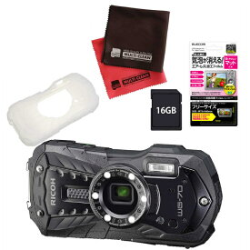 (SDカード16GB・シリコンジャケット付き6点セット) リコー RICOH WG-70 ブラック 防水・防塵・耐衝撃・防寒 デジタルカメラ 【防水カメラ】(快適家電デジタルライフ)