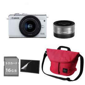 キヤノン ミラーレスカメラ EOS M200 ホワイトダブルレンズキット (3700C019) Canon(ラッピング不可)(快適家電デジタルライフ)