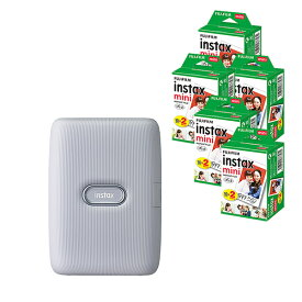 (フィルム100枚付)富士フイルム インスタントプリンター チェキ instax mini Link アッシュホワイト スマートフォン用プリンター スマホプリンタ (FUJIFILM)(快適家電デジタルライフ)
