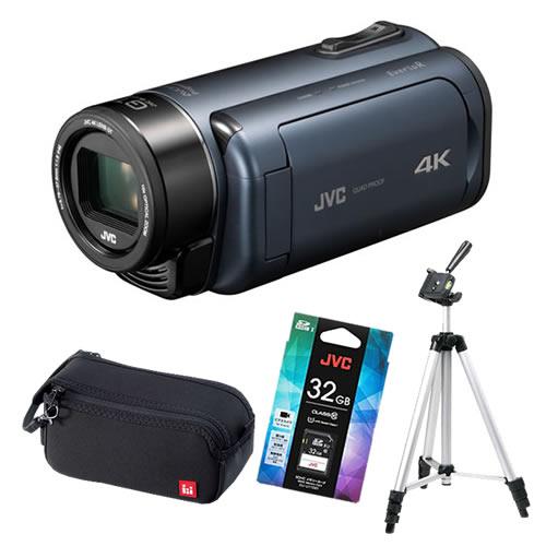 (4点セット)JVCケンウッド GZ-RY980-A ディープオーシャンブルー 4Kメモリームービー ビデオカメラ Everio R QUAD PROOF (GZRY980A)