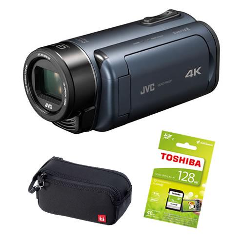(3点セット)JVCケンウッド GZ-RY980-A ディープオーシャンブルー 4Kメモリームービー ビデオカメラ Everio R QUAD PROOF (GZRY980A)