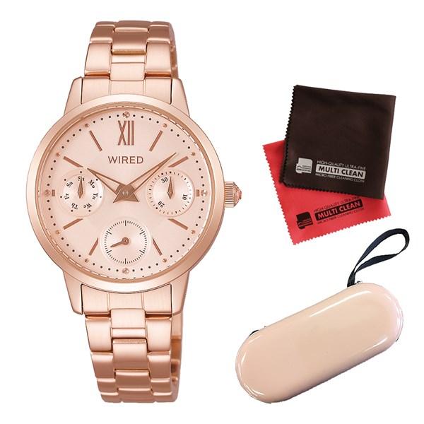 (セット)(国内正規品)(セイコー)SEIKO 腕時計 AGET713 (ワイアードエフ)WIREDf レディース クリスマス限定モデル&腕時計ケース1本用(ベージュ)&クロス2枚セット【多針アナログ表示】(快適家電デジタルライフ)