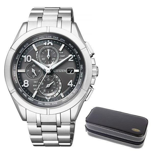 (ケースセット)(国内正規品)(シチズン)CITIZEN 腕時計 AT8160-55H (アテッサ)ATTESA メンズ ダイレクトフライト 限定モデル&腕時計ケース2本用 ブラック(チタンバンド 電波ソーラー 多針アナログ)(快適家電デジタルライフ)