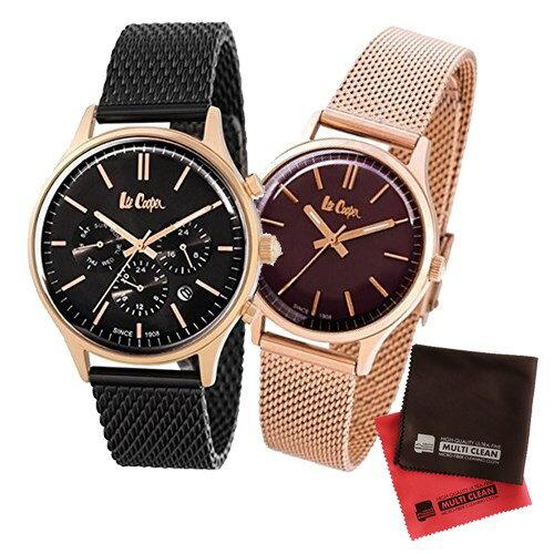 【ペア箱入りセット】【正規輸入品】(リークーパー)Lee Cooper 腕時計 LC6294.450 メンズ・LC6301.480 レディース&クロス2枚(ステンレスバンド クオーツ アナログ ペアウォッチ)(快適家電デジタルライフ)