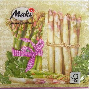 ペーパーナプキン ランチサイズ アスパラガスグリーン・ホワイト 2枚入り[Maki]2枚入りペーパーナフキン・紙ナプキン・デコパージュ・野菜