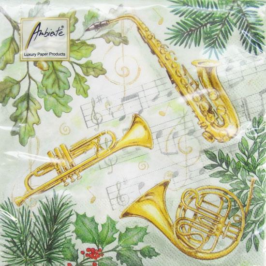 ペーパーナプキン[メール便OK] クリスマス ミュージック 10枚入り[Ambiente]クリスマス楽器・サックス・トランペット・ホルン