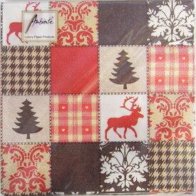 10枚 ペーパーナプキン 冬のパッチワークキルト ブラウン[Ambiente]クリスマス紙ナプキン