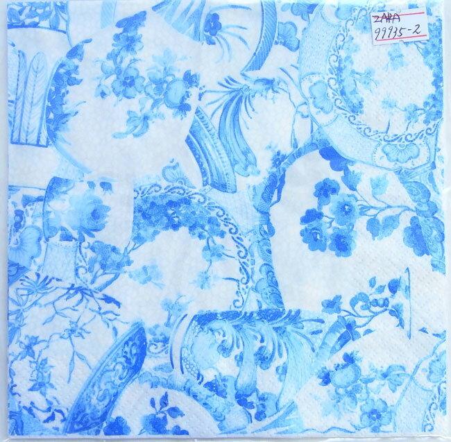ペーパーナプキン[メール便OK]  ブルー フラワー食器  2枚入り[ZARA]紙ナプキン・デコパージュ