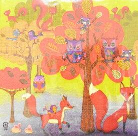 ペーパーナプキン[メール便OK]ランチサイズ10枚入り 秋の森の動物たち キツネ・ミミズク [COLOURFUL LIFE]カラフルライフ・紙ナプキン・デコパージュ