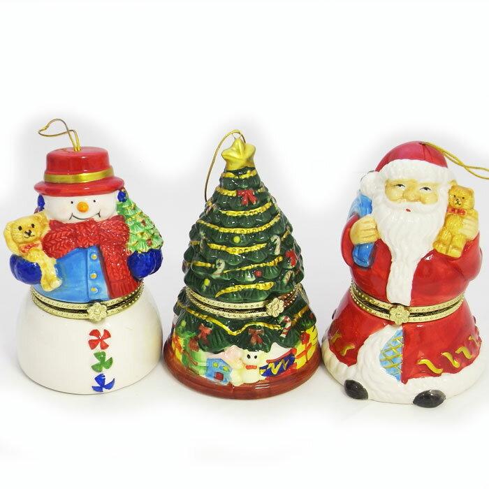 ポーセリン ミュージック ボックス オルゴール [A.P.J.Christmas]クリスマス・サンタ・ツリー・雪だるま