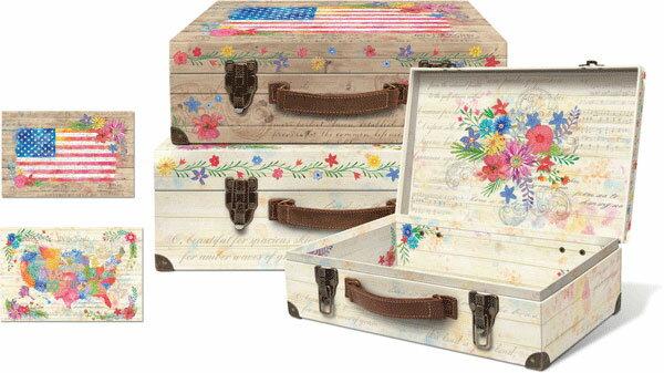 [Punch Studio]ハードトランクケースセット バレットケースAmerica The Beautifulアメリカ ザ ビューティフル シリーズパンチスタジオインテリア・BOX・スーツケース