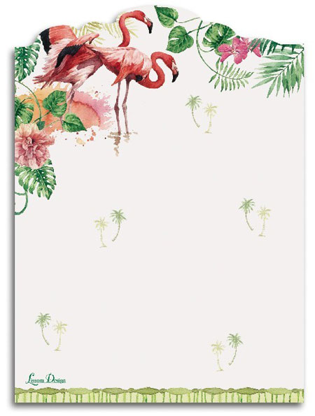 Lissom Design 付箋メモ トロピカルパラダイス Self Adhesive Sheets・フラミンゴ・鳥・ハイビスカス