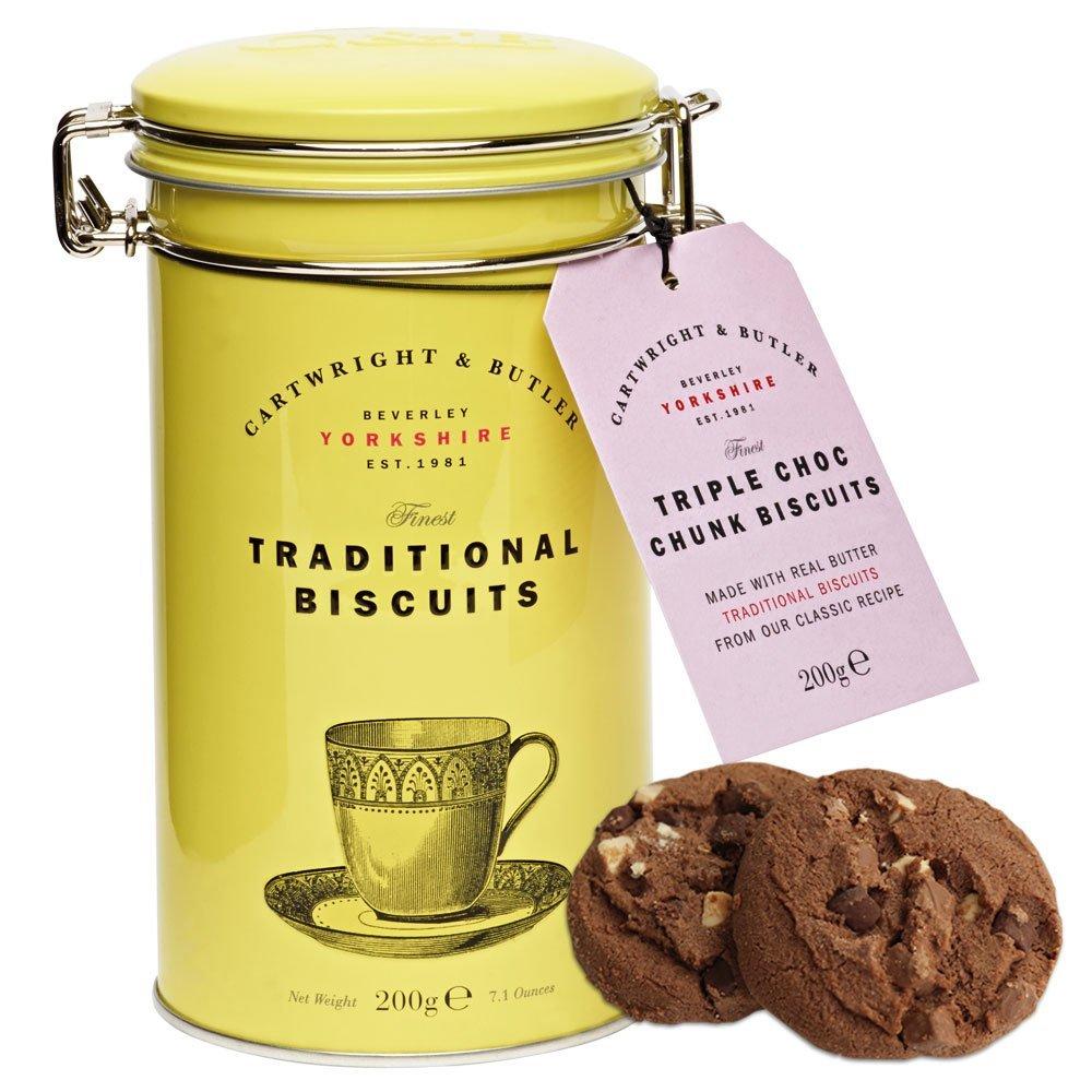 [輸入お菓子]トリプルチョコレートビスケットイエロー缶 カートライトアンドバトラー [Cartwright&Butler]ビスケット・密閉容器・チョコレート