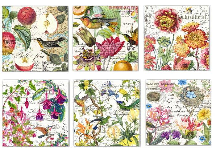 Michel Design Works 2015 ペーパーナプキン[メール便OK]●カクテルサイズ●2枚入り 鳥・花・紙ナプキン・デコパージュミッシェルデザインワークス