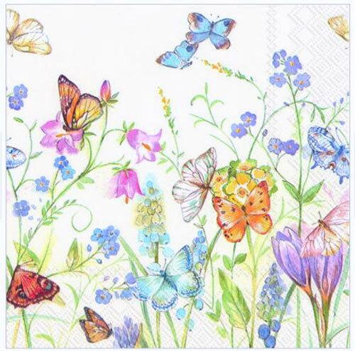 ペーパーナプキン[メール便OK]ランチサイズ butterflies and blossoms white 5枚[Ihr]ペーパーナフキン・紙ナプキン・デコパージュ花柄