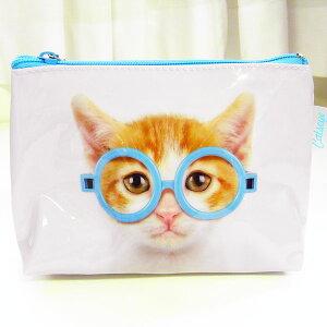 スモールウォッシュバッグ 水色メガネキャット アップ[Catseye]猫 ねこ ネコ CAT キャット