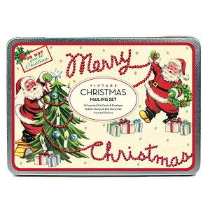 928053 Cavallini&Co クリスマス限定 メーリングセット ヴィンテージクリスマス2カヴァリーニ お手紙セットカード・封筒・スタンプ・ステッカー・シール・スタンプパッド