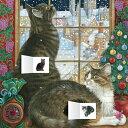 アドベントカレンダー シール入り窓から町並みを眺める猫 LesleyAnneIvory's[flame tree publishing]