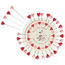 ハートまち針 30本 [dotcomgiftshop]手芸針・マチ針・ピンクと赤のハート針