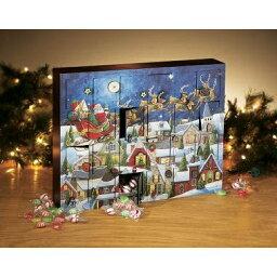 木製廣告便特日曆夜空和聖安娜的雪撬Byers Choice進口廣告便特日曆