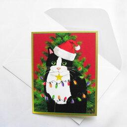 聖誕賀卡聖安娜便帽的貓樹電燈Caspari賀卡