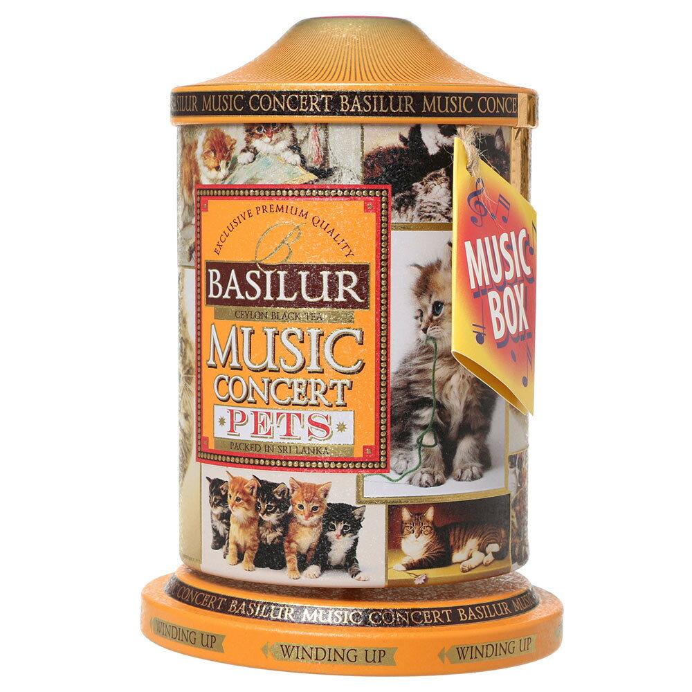 オルゴール缶入り紅茶 ミュージックコンサート ペット キャット オレンジセイロン紅茶茶葉100g[BASILUR]バシラー・リーフティー・ねこ・ネコ・猫