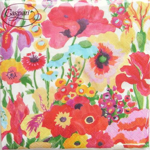 10枚ペーパーナプキン シークレットガーデンホワイト Secret Garden WhiteCaspariカスパリ Collier Campbell・フラワー・花・水彩 ランチサイズ