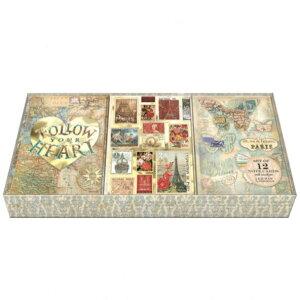 [Punch Studio]トリオカードセット ヨーロッパ紀行3デザイン各4セット 12枚入りパンチスタジオ グリーティングカード・地図・切手・スタンプ・蝶