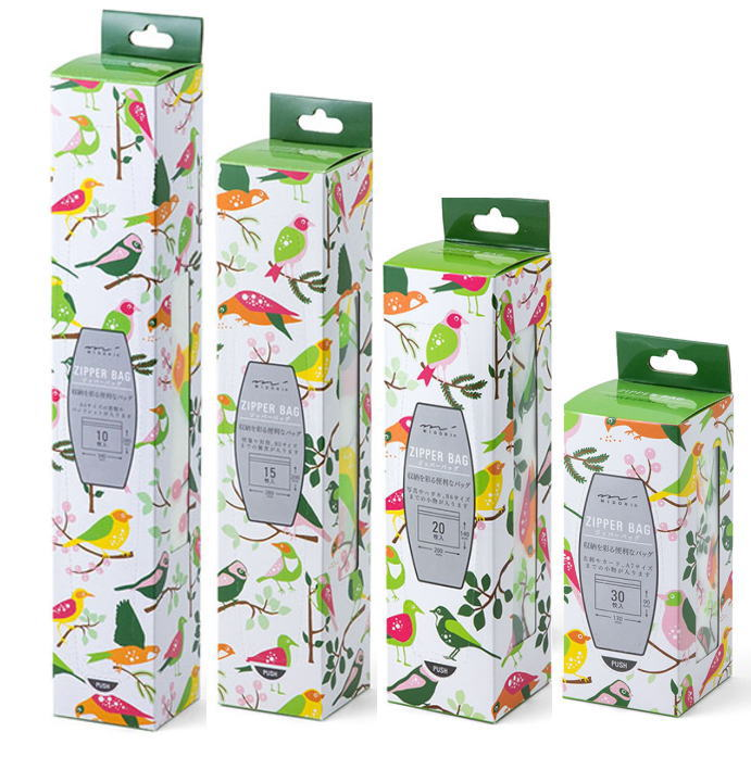 廃番 廃番在庫限り 食品衛生法規格品 ジップバッグS/M/L/LL 小鳥北欧デザインジップロック ・ジッパーバッ グ[midori]ミドリカンパニー・小分け袋・保存袋・ジッパーバック