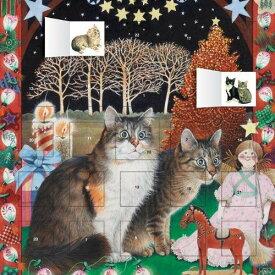アドベントカレンダー シール入り二匹の猫と赤いツリー Lesley Anne Ivory's[flame tree publishing] ねこ 猫 ネコ アイボリーキャッツ