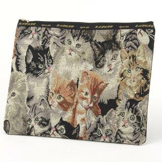 Gobelin tapestry cat pattern porch large size [cat goods cat miscellaneous goods] A4, clutch bag [LA LUICE] cat, cat, cat, CAT
