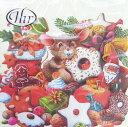 ペーパーナプキン ランチサイズ 5枚入り [メール便OK]CHRISTMAS MICE クリーム ねずみ クリスマス[IHR]ドイツ …