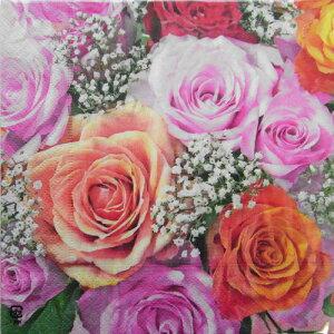 C-405 3枚 ペーパーナプキン ローズブーケアップ[paper+design]ペーパープラスデザイン・デコパージュ・紙ナプキン・花・薔薇・バラ・ばら