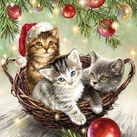 10枚ペーパーナプキン 籠の中の3匹の猫[Ambiente]アンビエンテ キャッツインバスケットクリスマス 紙ナプキン・デコパージュ ネコ 猫柄