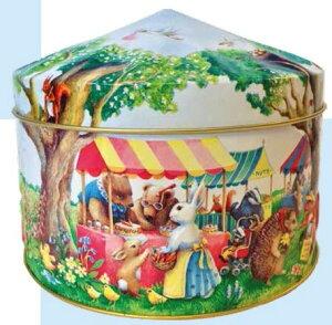 「輸入お菓子」缶入り ウッドランドフェア缶(ショートブレッド) チャーチル 動物のマーケット柄