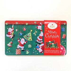 298-007クリスマスぶら下がりサンタ チョコエンボス缶 輸入菓子[HEIDEL]ドイツギフト・お菓子・クリスマス