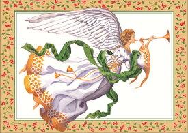 クリスマスカード ラッパを吹く天使Caspari カスパリ 定形サイズグリーティングカード エンジェル
