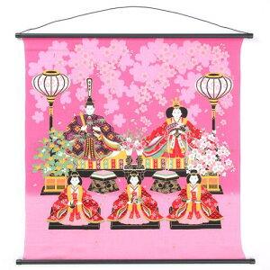 75cm 縮緬タペストリー 雛桜ピンク 636-364-31日本製 雛祭り壁飾りひなまつり・お雛様ウォールアート