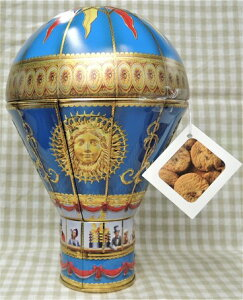 缶入菓子 ヴィクトリアンホットエアーバルーン ブルー缶(チョコチップクッキー150g)チャーチル貯金箱 気球 熱気球缶