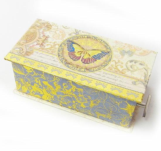 [Punch Studio]オルゴールミニBOX バタフライ リネン小物入れ・ラッピング・ギフトボックス