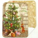 [Punch Studio]無地カード 書斎に飾ったツリーと2匹猫クリスマス猫・子猫・ネコ・キャット・Cat