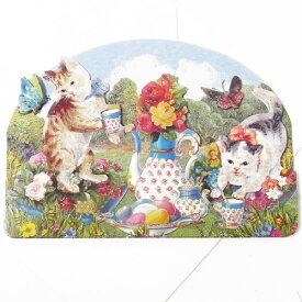 [Punch Studio]グリーティングカード 猫のお茶会 デザイン封筒付き  食器柄パンチスタジオメッセージ・ギフトカード・子犬・ローズ・リボン