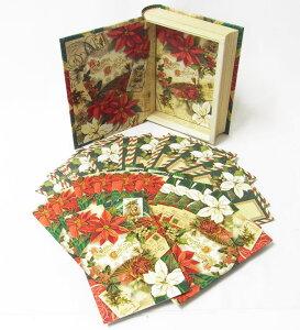 [Punch Studio]BOOK型カードセット クリスマス ファン 18枚セットポインセチアクリスマス・本型・ブック